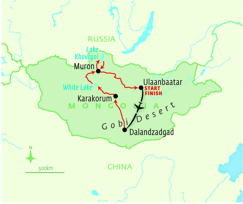 Map for Mongolian Summertime Splendours