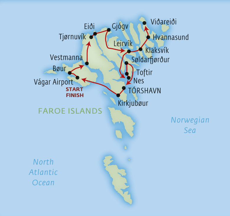 Map for Classic Faroe Islands fly-drive