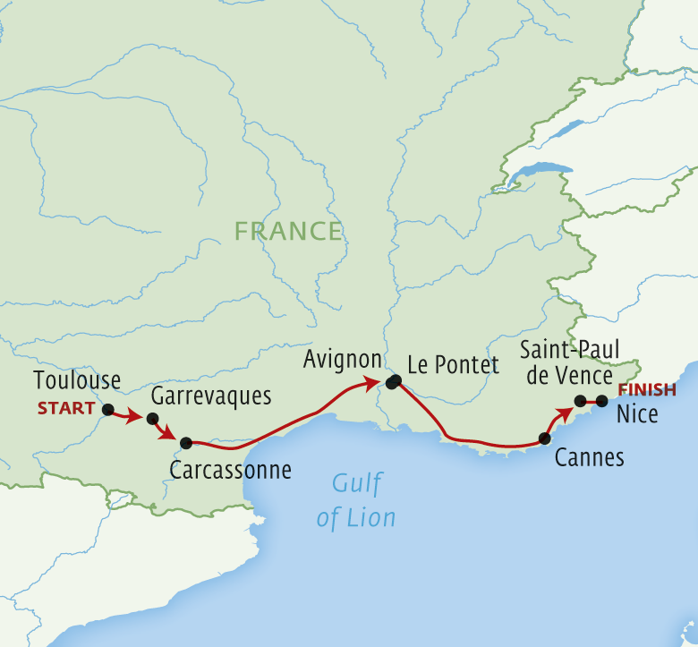 Map for The Best of Southern France