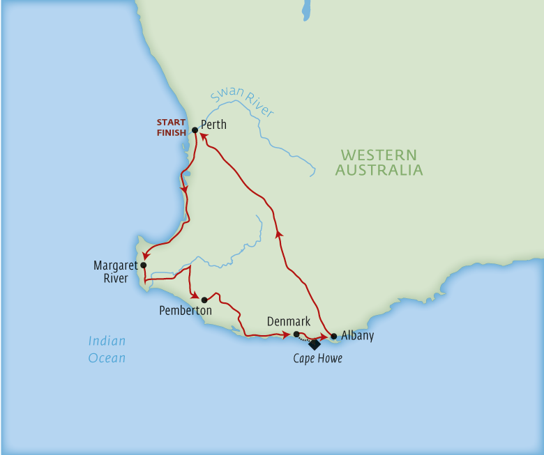 Map for Margaret River & Australia's south west by motorhome