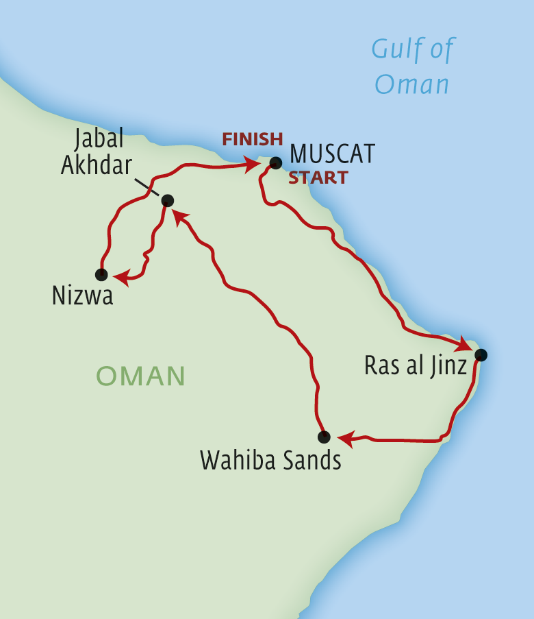 Map for Northern Oman Adventure