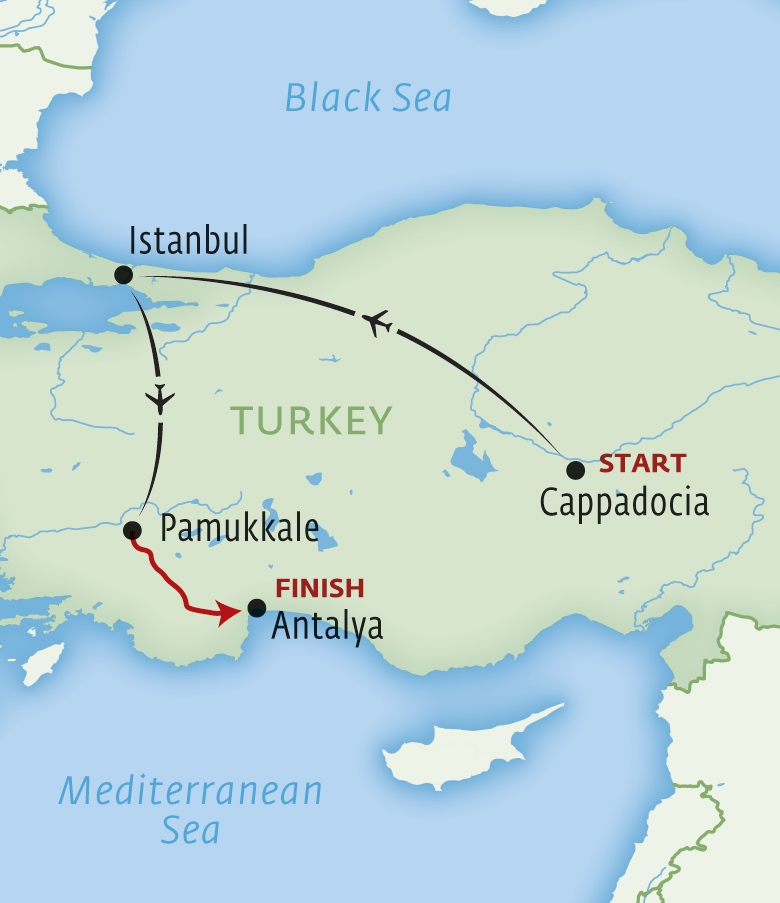 Map for Turkey - a private tour Western Anatolia