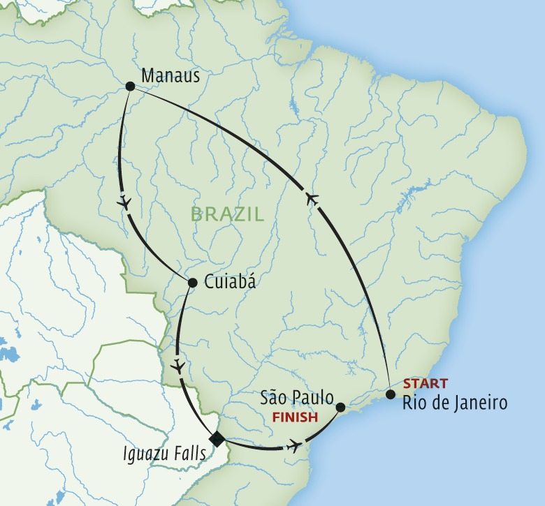 Map for Brazil: Wildlife & Waterfalls