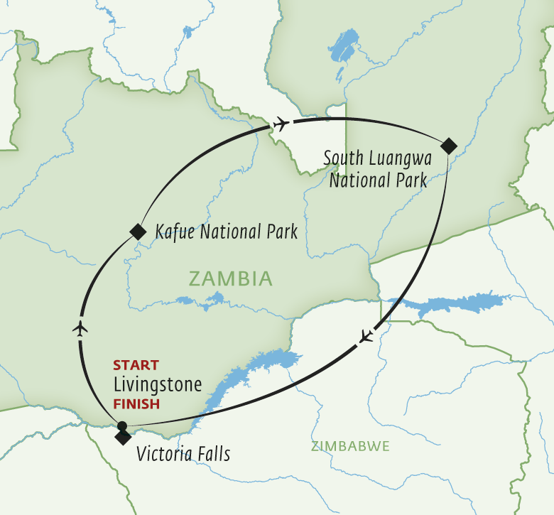 Itinerary map for Zambia Discovery