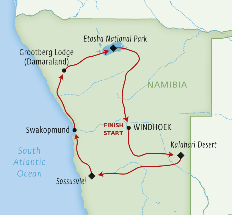 Map for Namibian Dunes & Wildlife