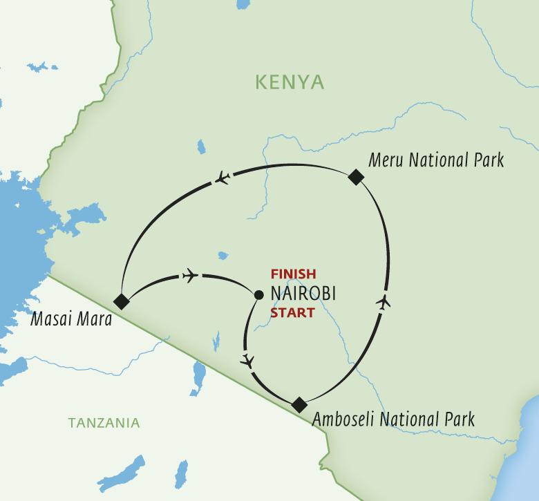Map for Amboseli, Meru & the Mara