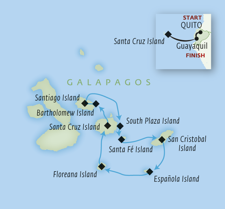 Map for The Galapagos by Luxury Catamaran