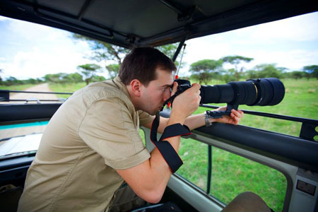 Photographer on location in Africa